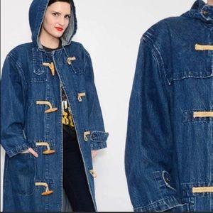 VTG 90s Ralph Lauren long hooded toggle denim coat